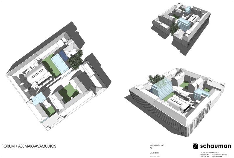 Forum-kortteli torilta päin nähtynä, Hamburger Börs ja Affärcentrum